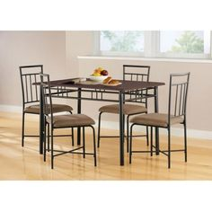 Mainstays 5-Piece Wood and Metal Dining Set, Deep Walnut Color