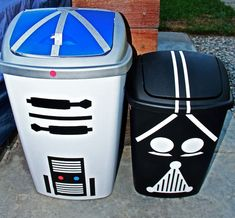 Star Wars 5th Birthday Party - Garbage cans made to look like R2-D2 and Darth Vader!!