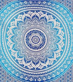Blue Ombre Indian Wall Hanging Hippie Mandala Tapestry Bohemian Bedspread Ethnic Dorm Decor Montreal Tappassier http://www.amazon.com/dp/B0186JZ678/ref=cm_sw_r_pi_dp_sTOcxb18TQ30S