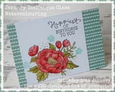 Julie Kettlewell - Stampin Up UK Independent Demonstrator - Order products 24/7: Watercolouring with Birthday Blooms