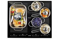 Indukční varná deska XtremePower XpandZon IS 656 SC (Gorenje) má celou plochu fl exibilní a umožňuje vaření v pěti nádobách postavených na libovolném místě, cena 11 944 Kč, www.datart.cz