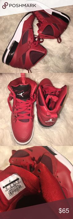 Nike AIR JORDAN FLIGHT 45 BLOODY RED Worn once. Without box.  I took off the cross strap and can't find it 😒 All offers will be considered!! Air Jordan Shoes Sneakers