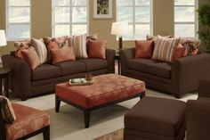 Poundex Modern 2 PCs. Brown Earth Sofa Set with Loveseat