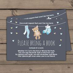 Baby shower Bring a book card Teddy bear Boy by Anietillustration