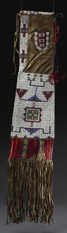 Sioux beaded and fringed hide pipe bag | ca. prior to 1938