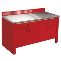 Automotive Work Benches | Automotive Workbench Systems | Realiti® Workbench-Stationary Includes Stainless Steel Top-Carmine Red | B379962 - GlobalIndustrial.com