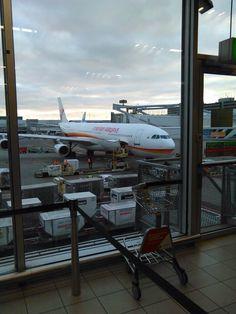 Surinam airways waiting at the gate at Amsterdam Schiphol airport