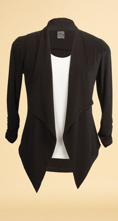 Soft Stretch Knit 3/4 Sleeve Casual Bolero Details - Ruche Sleeve Details - Tuxedo Inspired - Hip Length Design - Signature Soft Stretch Knit, Wrinkle-Free Fabric - 70% Polyester, 20% Rayon, 10% Spand