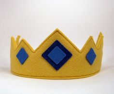 Wool Felt Crown Royal crown with blue jewels by dreamchildstudio
