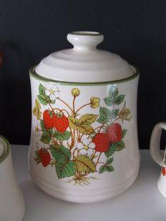 1980s Vintage Strawberry Kitchen Canister by StilettoGirlVintage