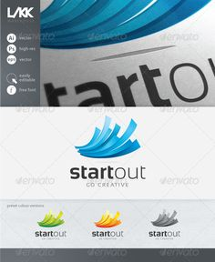 StartOut Logo  #GraphicRiver         A modern logo template ideal for a creative company. Design, media, print, social – you name it.  The set includes: - four different colour schemes - vector source files (AI – Adobe Illustrator, EPS) - high resolution rasterized files (PSD – Adobe Photoshop) - PNG image previews Full editability. Well organized layers. CMYK colour mode ready for print. Free modern font used –  .dafont /sansation.font      Created: 6April13 GraphicsFilesIncluded…