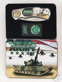 20131 new gift boxed lighter and folder knife with army logo's - $99 or best offer - free ship worldwide - or pick up in sarchi