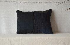Black pillow sashiko pillow kapok pillow by EthicalLifeStore