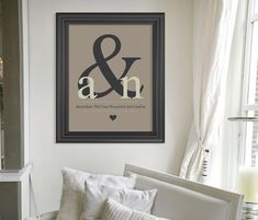 Christmas Gift // Ampersand Monogram Art Print // Custom Gift // Personalized Wedding Present // Special Date Wall Art // Home Decor. $24.00, via Etsy.