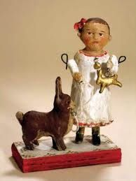 Paper mache girl & bunny Like the upright posture of bunny