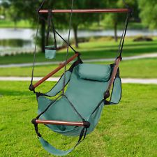 Solid Wood Hammock Hanging Chair Air Deluxe Sky Swing Chair Outdoor Indoor Green Hanging Hammock Chair, Hammock Stand, Swinging Chair, Outdoor Chairs, Indoor Outdoor, Outdoor Furniture, Outdoor Decor, Hammocks, Lawn And Garden