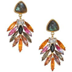 Lizzie Fortunato Riviera Labradorite & Marquis Chandelier Earrings (€280) ❤ liked on Polyvore featuring jewelry, earrings, apparel & accessories, multicolored, vintage jewelry, iridescent earrings, multi color earrings, vintage cabochon jewelry and 18 karat gold earrings
