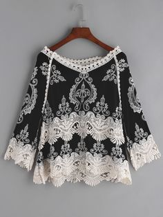 Black Embroidered Crochet Lace Trim Blouse