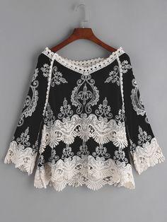 Black Embroidered Crochet Lace Trim Blouse