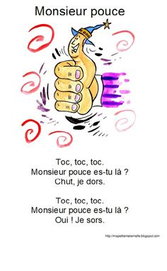 Monsieur pouce Finger Rhymes, Father Songs, French Worksheets, Info Board, Activity Games, French Language, Preschool Activities, Legos, Happy Life