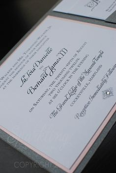 {Real Invitations} Slate Grey and Pink Wedding Invitations - Contact us today for your wedding stationery. www.mysparklingevent.com