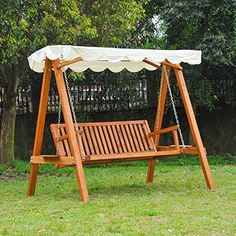 Outsunny 3 Seater Wooden Wood Garden Swing Chair Seat Hammock Bench Furniture Lounger Bed FSC Certificated Wood New(Cream)
