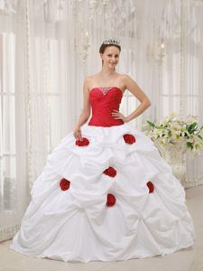 Gorgeous White and Red Taffeta Quinceanera Gown Dress with Flowers Beads