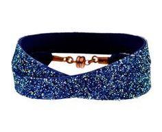 Blue Leather and Swarovski Crystal Double Wrap Bracelet