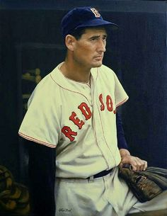 Who knows how Ted Williams left baseball for four years during the prime of his career to go fight in World War II? The Splendid Splinter is one of only two players (Rogers Hornsby being the other) to hit for the Triple Crown twice (in 1942 and Baseball Fight, Best Baseball Games, Baseball Live, Red Sox Baseball, Baseball Art, Better Baseball, Baseball Players, Baseball Painting, Baseball Classic