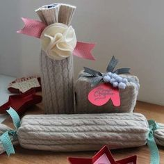 Old sweaters as gift wrap