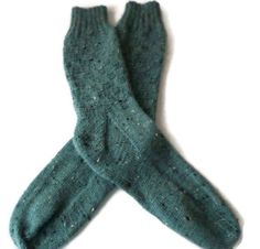 Socks  Hand Knit Men's Green Tweed Checkerboard by PointedNeedle