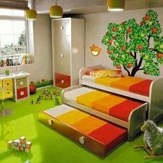 Triple bunks - great idea for kids' pajama parties :)