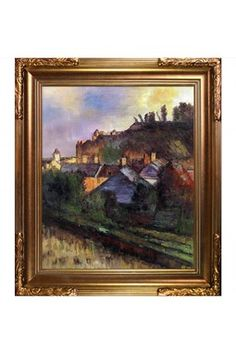 Edgar Degas Houses at the Foot of a Cliff (Saint-Valery-sur-Somme) Framed Canvas Wall Art