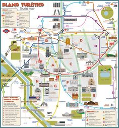 """In 2013 the tourist map of Metro de Madrid was launched.I designed this map, and I have carried out its redesign In 2015.Now it looks vintage and the network shape has been improved, enhancing its """"look and feel"""".It is planned to be printed along 2015.…"""