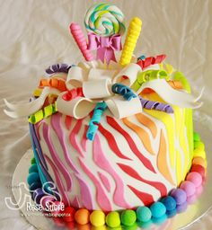 A rainbow cake is fun to look at and eat and a lot easier to make than you might think. Here's a step-by-step guide for how to make a rainbow birthday cake. Crazy Cakes, Fancy Cakes, Cute Cakes, Creative Cake Decorating, Cake Decorating Classes, Decorating Ideas, Cake Decorating Equipment, Birthday Cake Girls, Novelty Cakes
