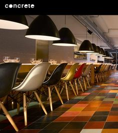 In the seventies and eighties young and old would meet at the iconic restaurant 'Witteveen' at the Ceintuurbaan in Amsterdam. Restaurant Kitchen, Colorful Chairs, Floor Finishes, Cafe Bar, Commercial Design, Retail Design, Decoration, Bar Stools, Concrete