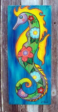 Seahorse on wood panel. Original acrylic by GulfportArtist on Etsy, $25.00