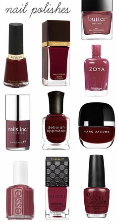 Butter London~Shag/ Revlon~Raven Red/ Tom Ford~Bordeaux Lust/ Zoya~Liz/ Nails Inc.~Kensington/ Deborah Lippmann~Single Ladies/ Marc Jacobs~Jezebel/ Essie~Stitches/ Gucci~Wild Amarena/ OPI~Lost on Lombard