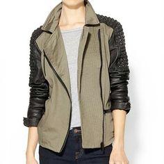 Military Biker Jacket, leather jacket BY Maison Scotch