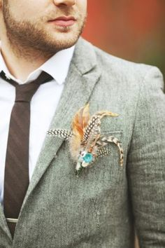 feather boutonnière --- see Ruffled® / A wedding blog for vintage, indie and DIY...
