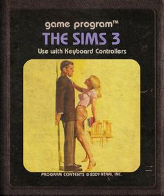 modern video games cover made in Atari style - the sims 3