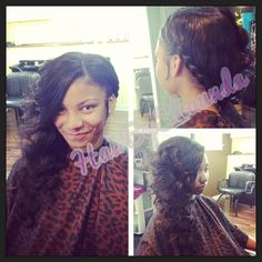 """Sew in installation ... Loosely braided along the side into bouncy ,soft wand curls using 3 bundles of 22"""" Satin Tresses virgin hair"""