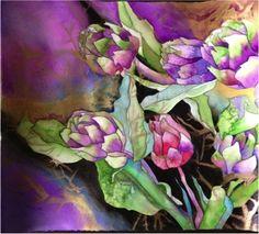 Watercolor Artichokes by - Suzi Vitulli. From a workshop by Karlyn Holman Watercolor Fruit, Watercolor Flowers, Watercolor Paintings, Watercolors, Art Floral, Art Aquarelle, Flower Art, Art Flowers, Art Station