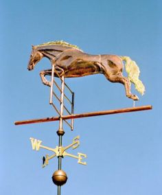 Jumping Horse Weather Vane by West Coast Weather Vanes. Any of the Jumping Horse weathervanes can have an optional equestrian added to the sculpture piece. The rider can be a man, woman or child. In fact, the weathervane can actually be a portrait of the rider and their horse.
