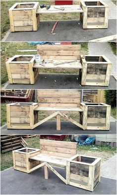 We never miss to add at least one idea that is not available to be seen anywhere because it is innovative and created with someone's hand, but not the professional due to which it is not available in the furniture store. See the upcycled wood pallet bench Wooden Pallet Projects, Wooden Pallet Furniture, Woodworking Furniture, Wood Pallets, Diy Furniture, Woodworking Projects, Pallet Ideas, Bedroom Furniture, Pallet Sofa