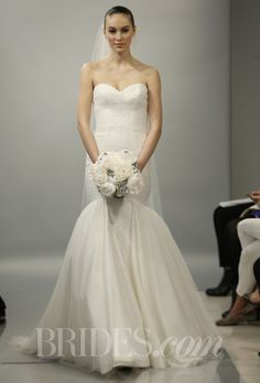 """Brides.com: Theia - Spring 2014. """"Faith"""" sweetheart strapless Spanish tulle mermaid wedding dress with Chantilly lace panel, Theia"""