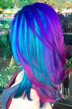 Purple and blue hair hair styles are all the rage, and we wish to experiment with the hair color. Pretty Hair Color, Hair Color Purple, Hair Dye Colors, Blue Colors, Bright Hair, Colorful Hair, Aesthetic Hair, Mermaid Hair, Hair Colors