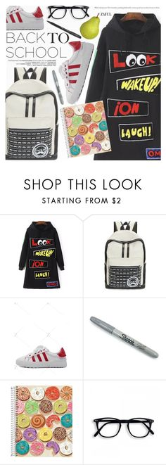 """Back To School"" by pokadoll ❤ liked on Polyvore featuring Sharpie, polyvoreeditorial, polyvorefashion, polyvoreset and zaful"