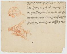 Inventaire du département des Arts graphiques - Etude de deux mains tenant chacune une plume - MIGNARD Pierre