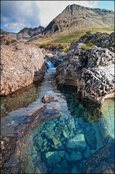 Fairy Pools, Isle of Skye, Scotland. was at Isle of Skye, sure wish we'd seen these. Places Around The World, Oh The Places You'll Go, Places To Travel, Places To Visit, Dream Vacations, Vacation Spots, Skye Island, Voyage Europe, Adventure Is Out There